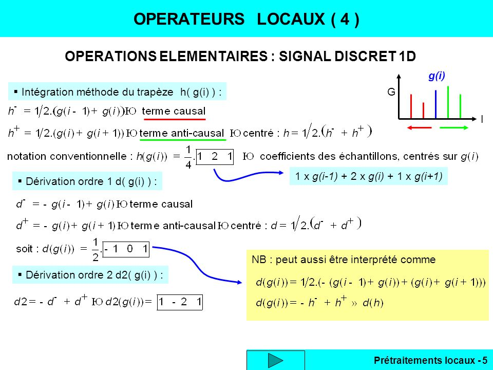 OPERATIONS ELEMENTAIRES : SIGNAL DISCRET 1D