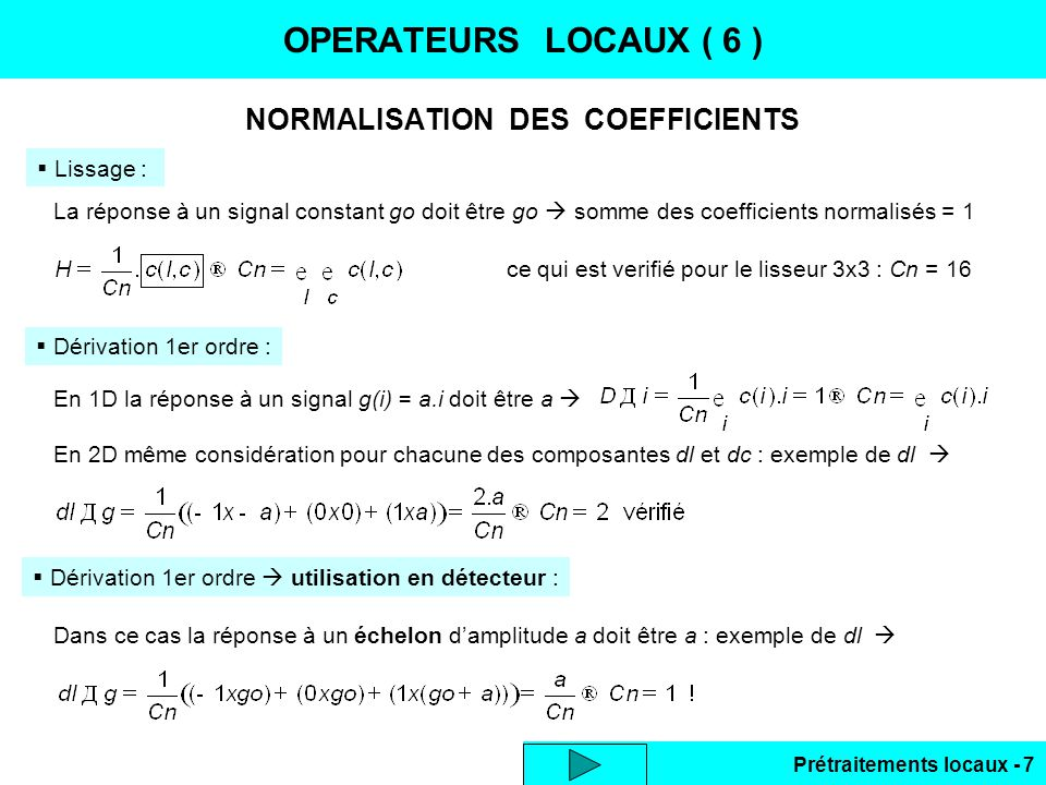 NORMALISATION DES COEFFICIENTS