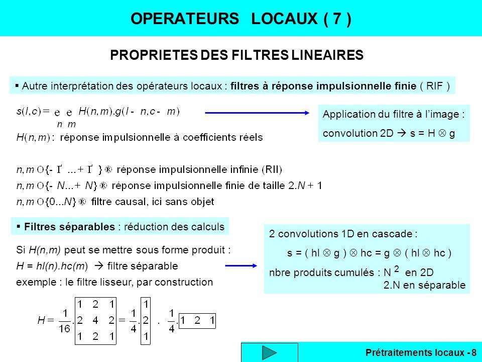 PROPRIETES DES FILTRES LINEAIRES