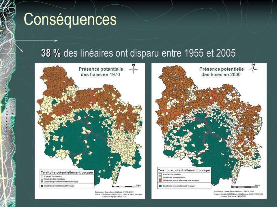 Conséquences 38 % des linéaires ont disparu entre 1955 et 2005