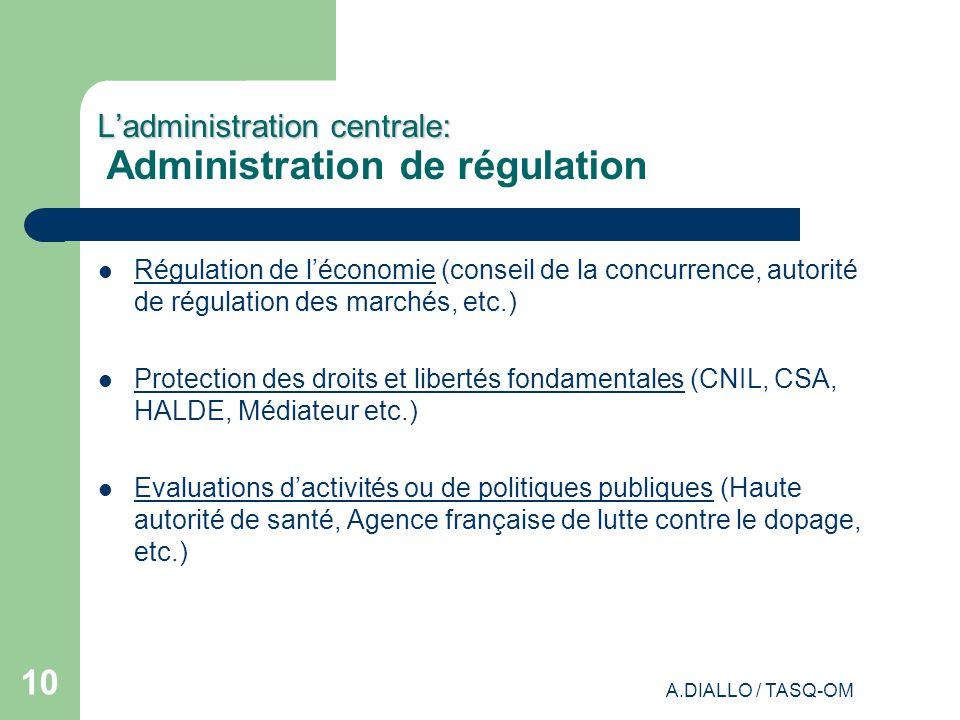 L'administration centrale: Administration de régulation
