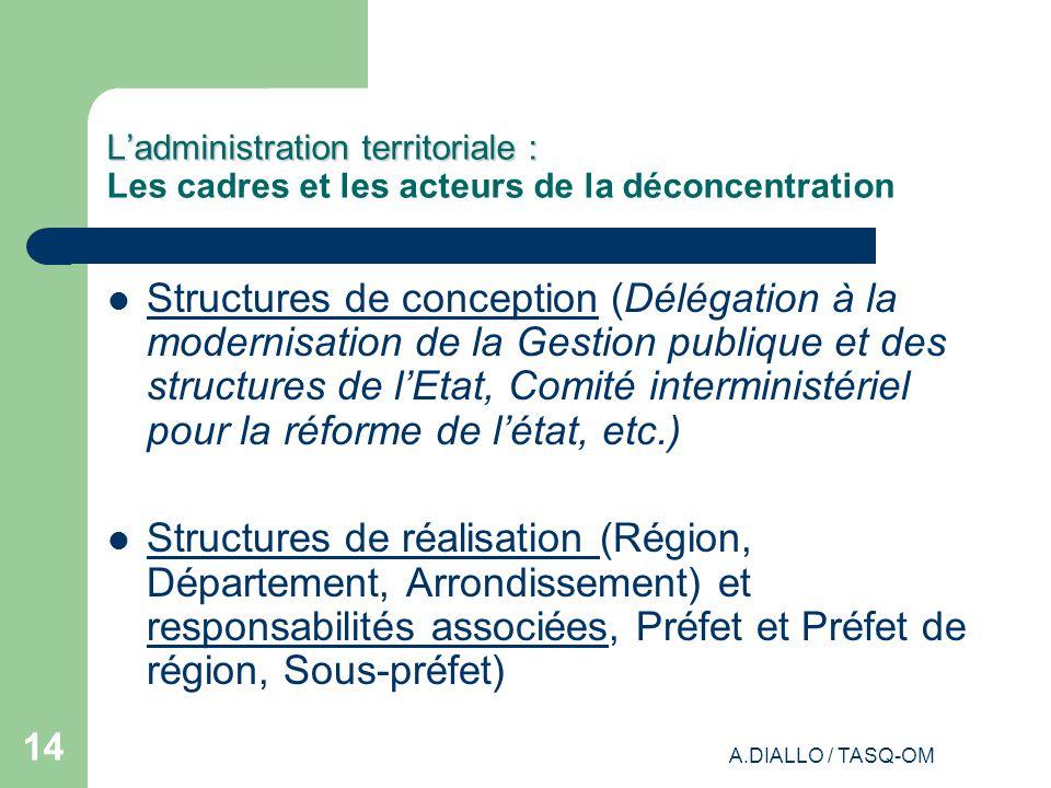 L'administration territoriale : Les cadres et les acteurs de la déconcentration