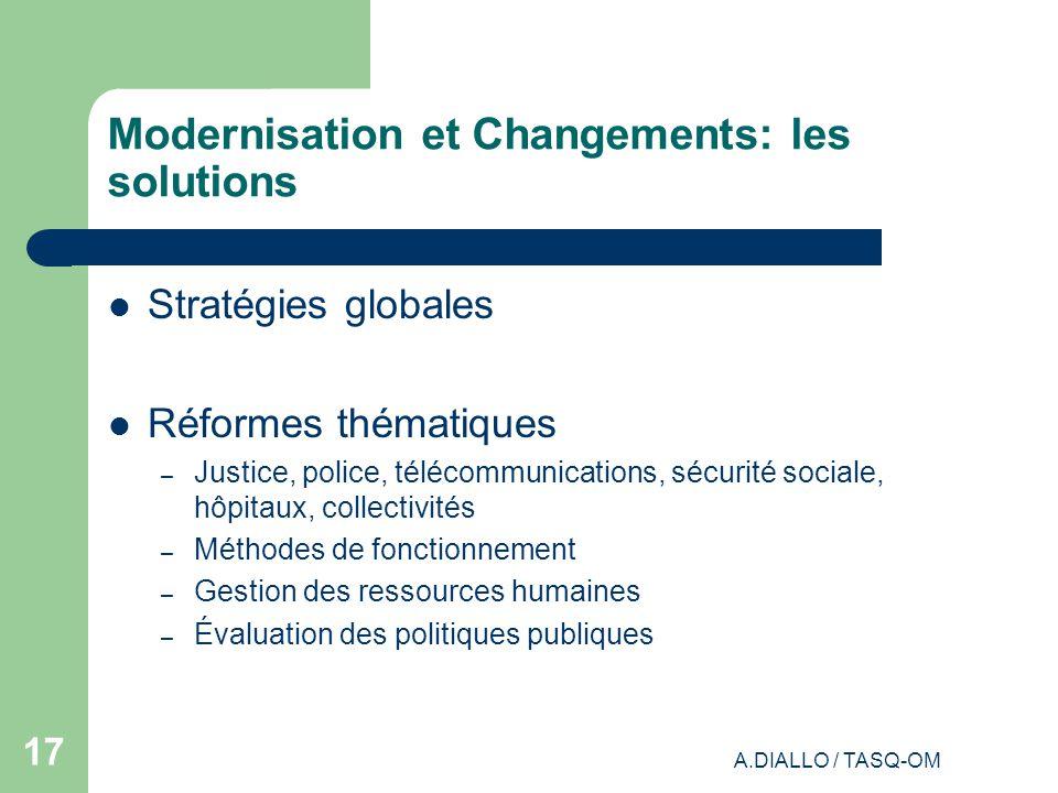 Modernisation et Changements: les solutions