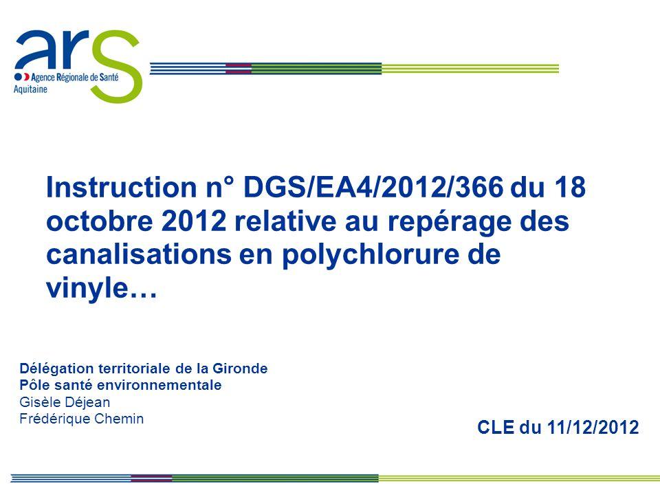 Instruction n° DGS/EA4/2012/366 du 18 octobre 2012 relative au repérage des canalisations en polychlorure de vinyle…