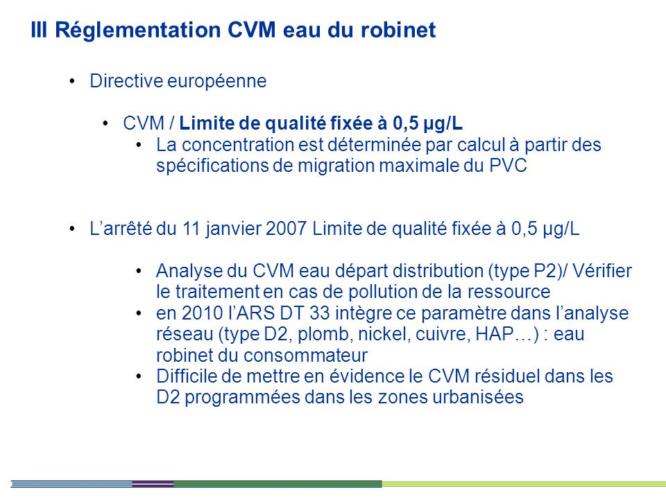 III Réglementation CVM eau du robinet