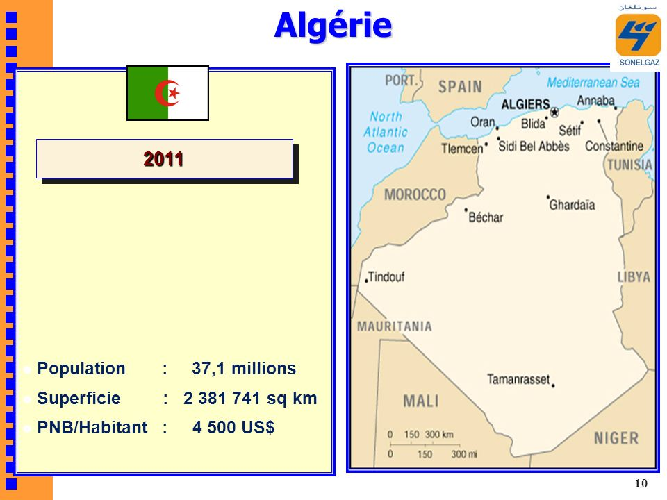 Algérie 2011 Population : 37,1 millions Superficie : sq km