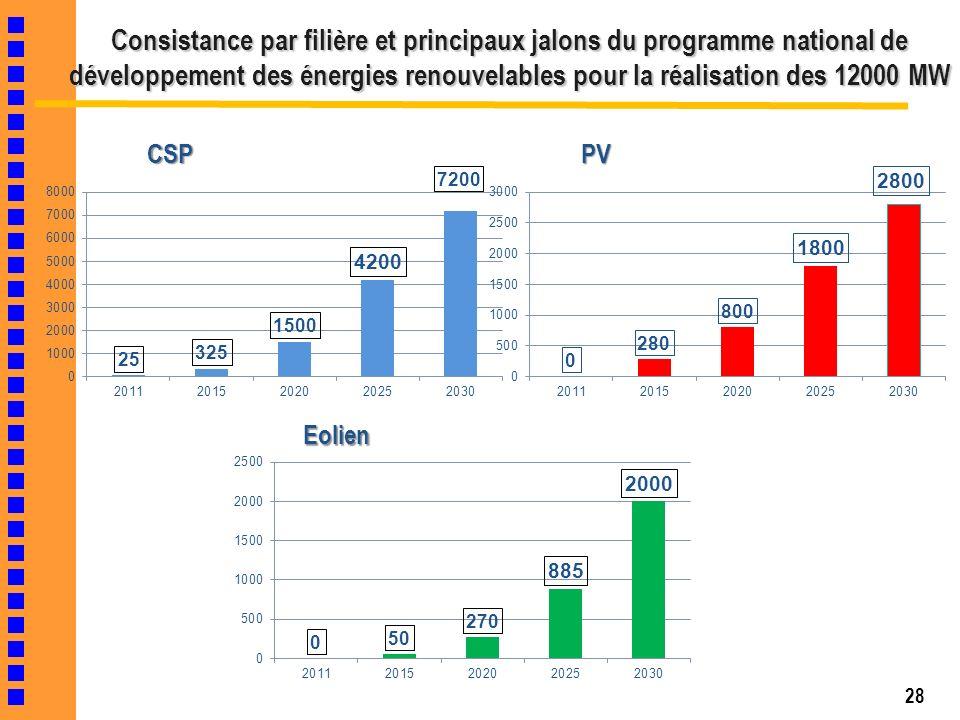 Consistance par filière et principaux jalons du programme national de développement des énergies renouvelables pour la réalisation des 12000 MW