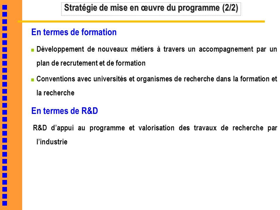 Stratégie de mise en œuvre du programme (2/2)