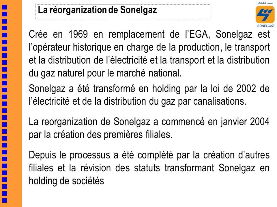 La réorganization de Sonelgaz