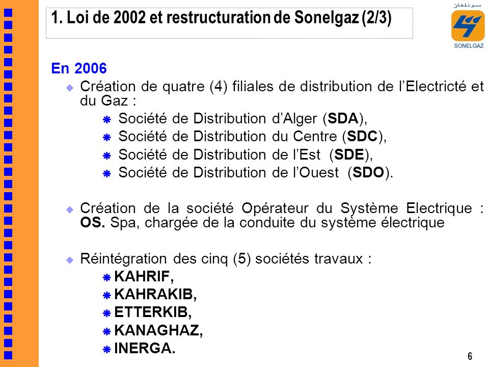 1. Loi de 2002 et restructuration de Sonelgaz (2/3)