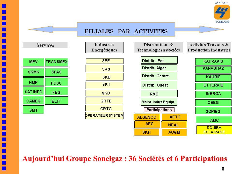 FILIALES PAR ACTIVITES