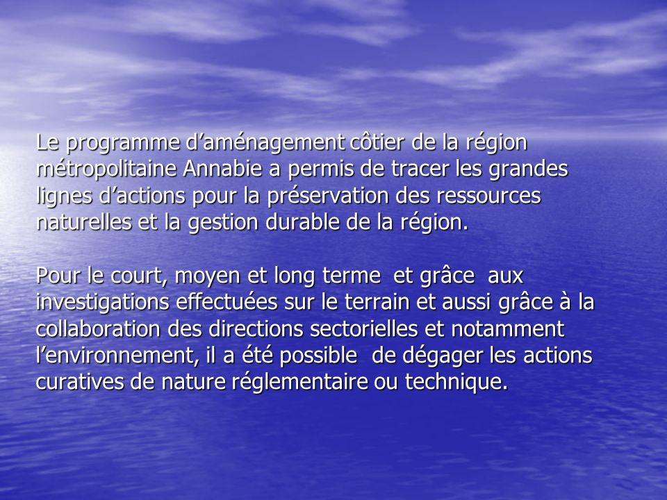 Le programme d'aménagement côtier de la région métropolitaine Annabie a permis de tracer les grandes lignes d'actions pour la préservation des ressources naturelles et la gestion durable de la région.