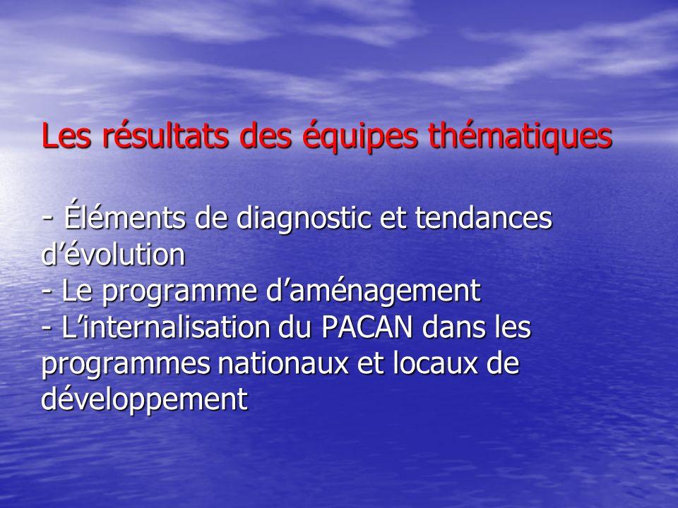 Les résultats des équipes thématiques - Éléments de diagnostic et tendances d'évolution - Le programme d'aménagement - L'internalisation du PACAN dans les programmes nationaux et locaux de développement
