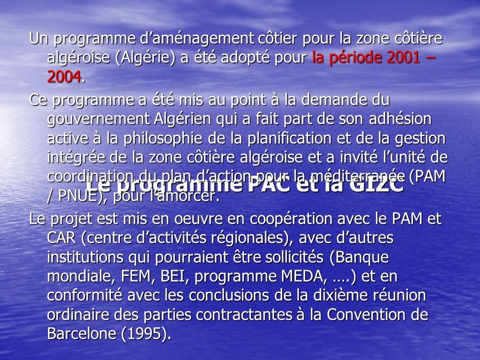 Le programme PAC et la GIZC