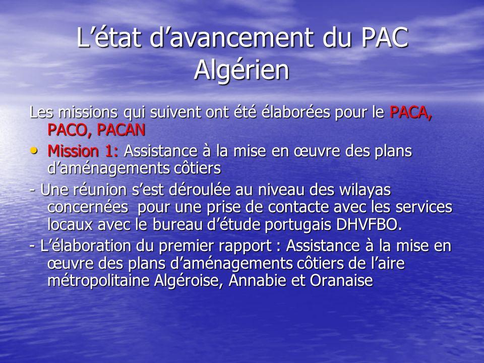 L'état d'avancement du PAC Algérien