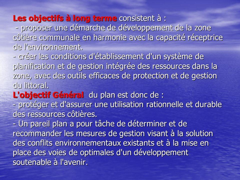 Les objectifs à long terme consistent à : - proposer une démarche de développement de la zone côtière communale en harmonie avec la capacité réceptrice de l environnement.