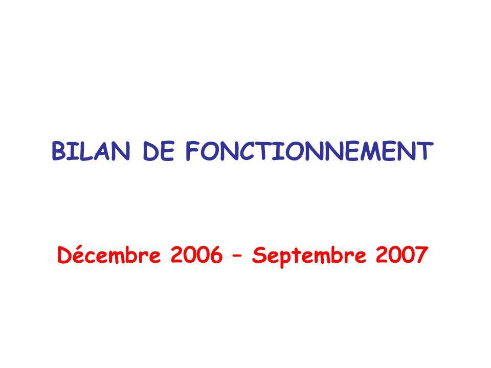 BILAN DE FONCTIONNEMENT