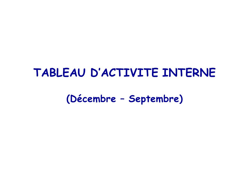 TABLEAU D'ACTIVITE INTERNE (Décembre – Septembre)