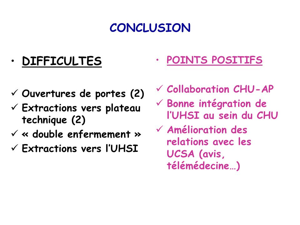 CONCLUSION DIFFICULTES POINTS POSITIFS Collaboration CHU-AP
