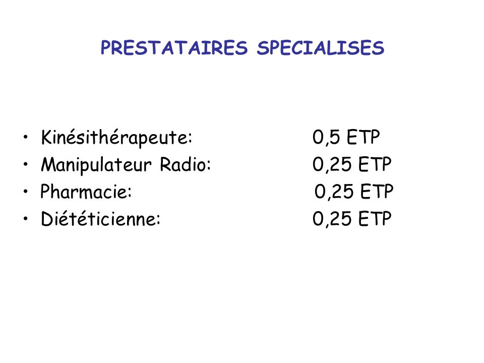 PRESTATAIRES SPECIALISES