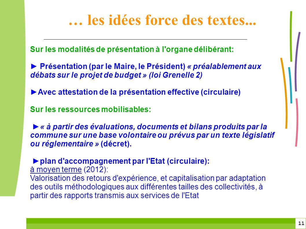 … les idées force des textes...