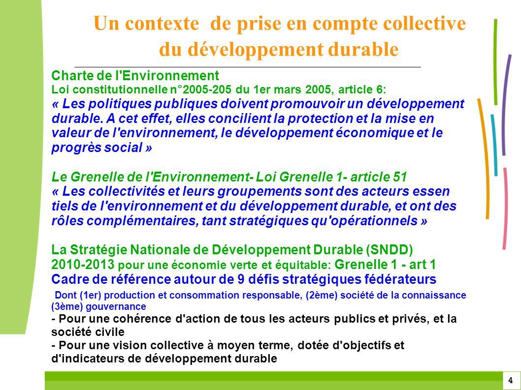 Un contexte de prise en compte collective du développement durable