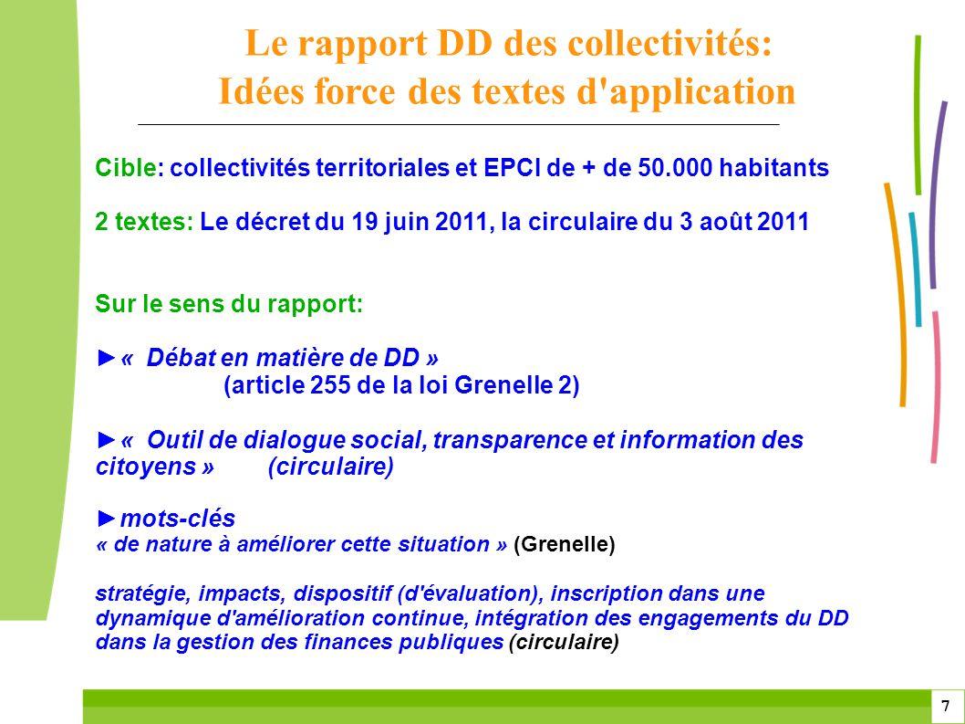 Le rapport DD des collectivités: Idées force des textes d application