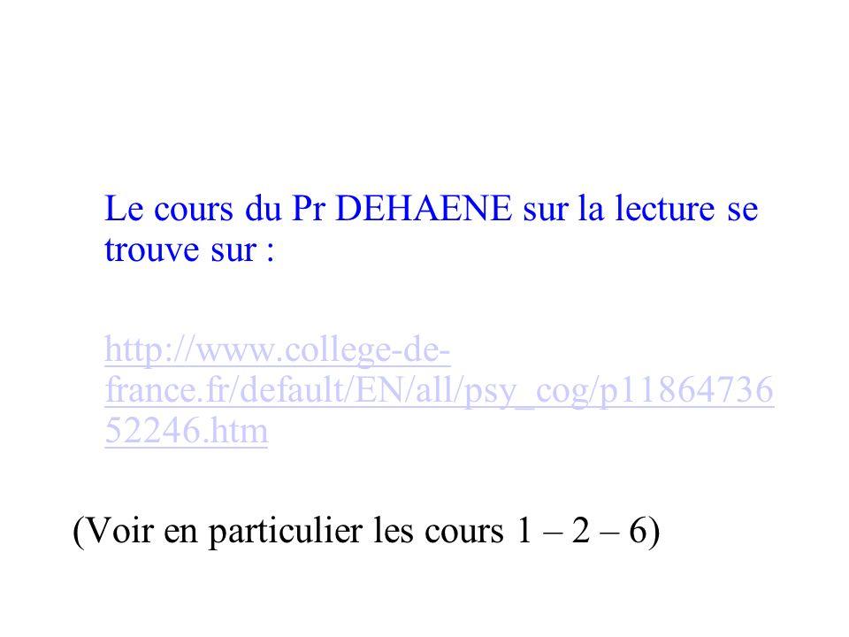 Le cours du Pr DEHAENE sur la lecture se trouve sur :