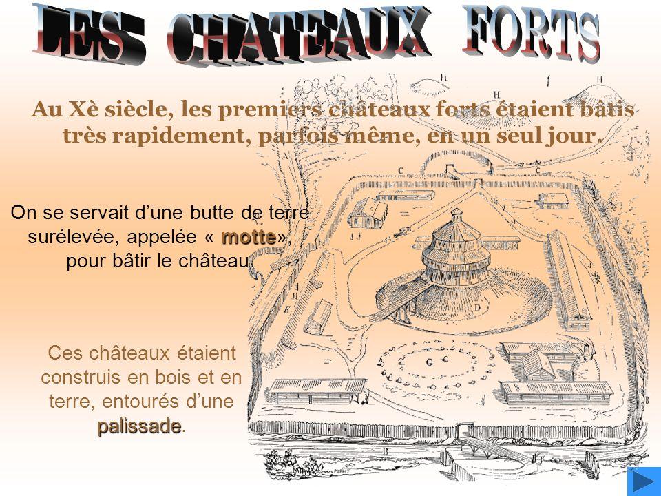 LES CHATEAUX FORTS Au Xè siècle, les premiers châteaux forts étaient bâtis très rapidement, parfois même, en un seul jour.