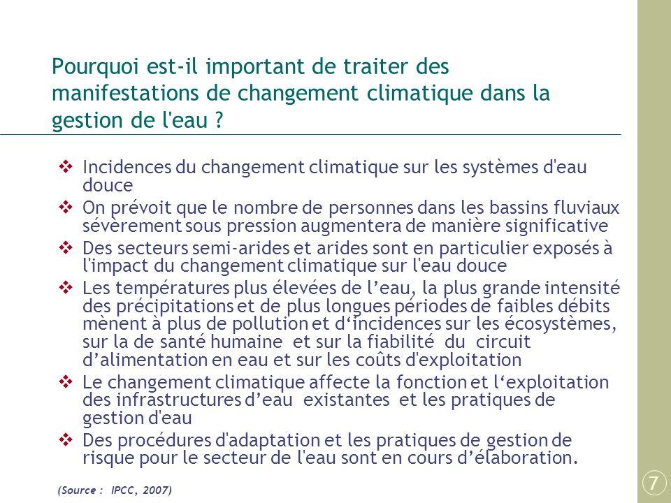 Pourquoi est-il important de traiter des manifestations de changement climatique dans la gestion de l eau