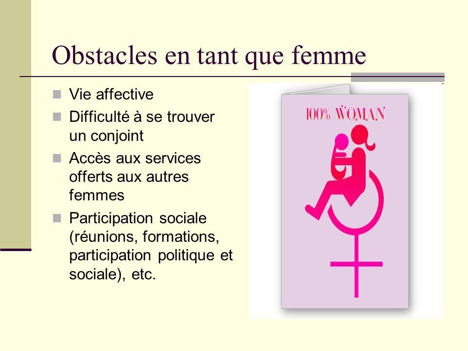 Obstacles en tant que femme