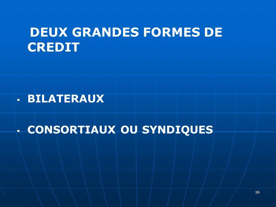 DEUX GRANDES FORMES DE CREDIT