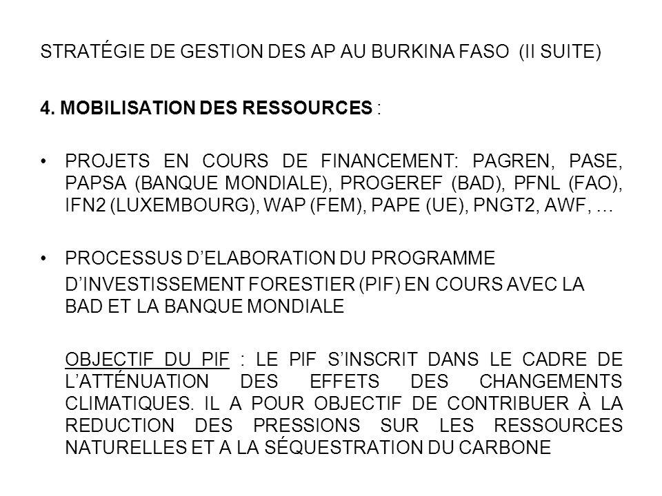 STRATÉGIE DE GESTION DES AP AU BURKINA FASO (II SUITE)