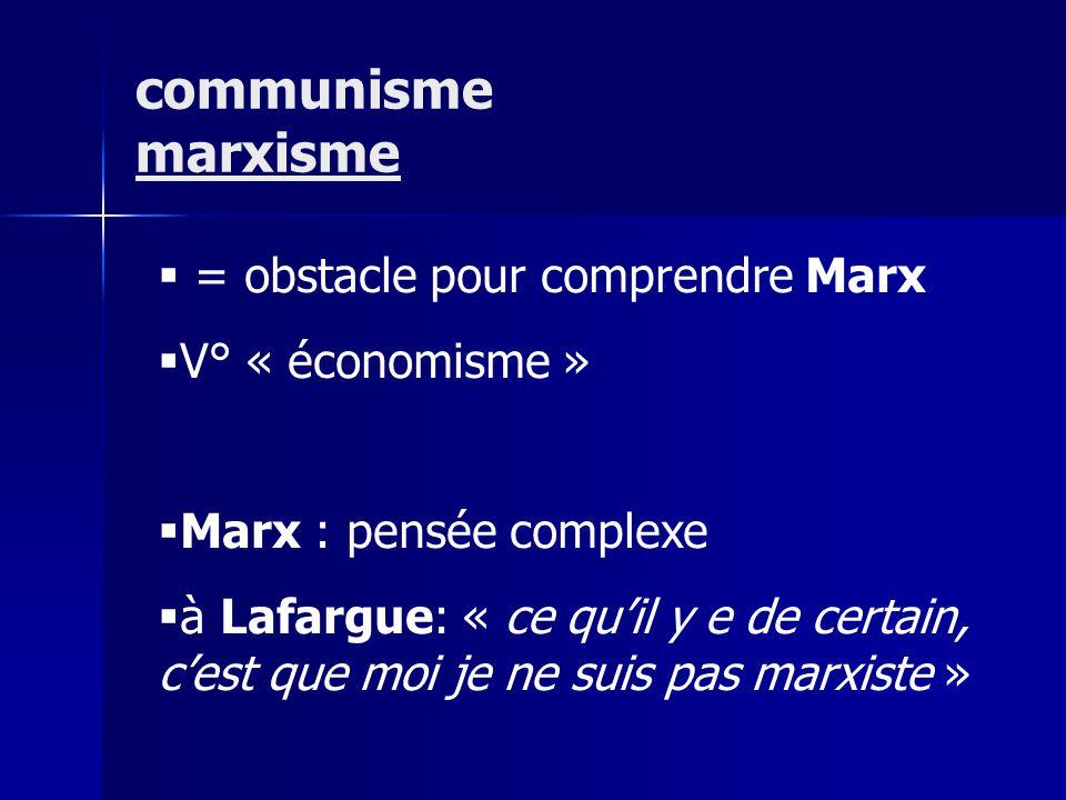 communisme marxisme = obstacle pour comprendre Marx V° « économisme »