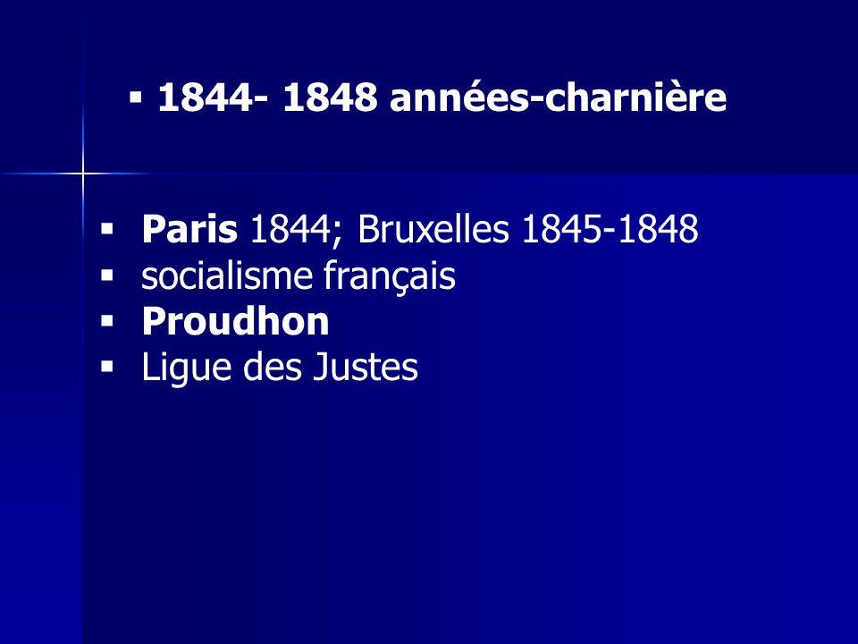 1844- 1848 années-charnière Paris 1844; Bruxelles 1845-1848.