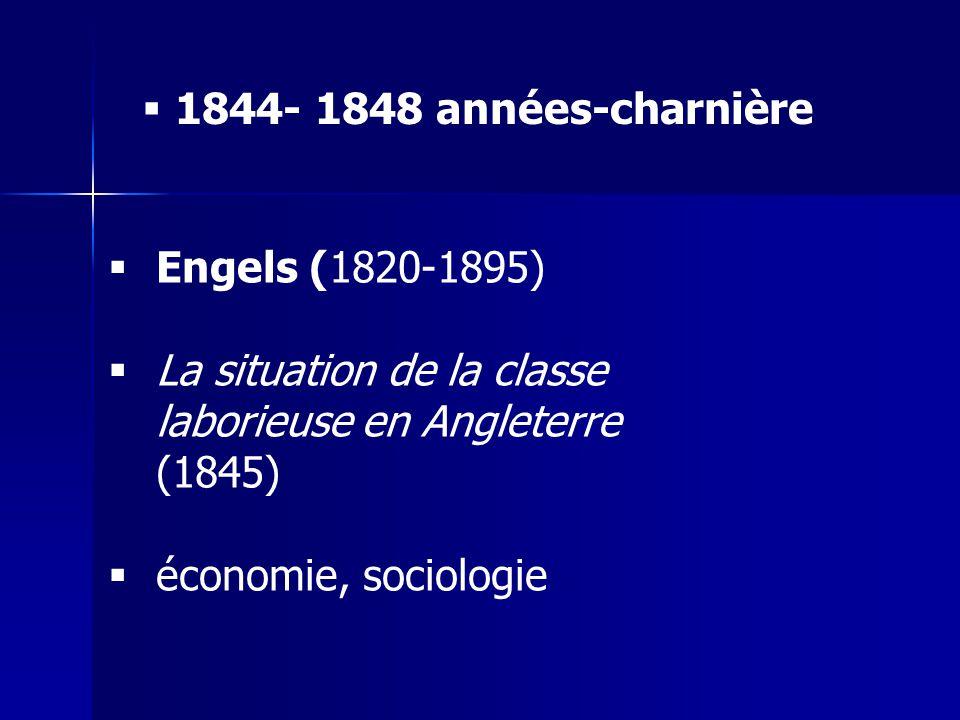 1844- 1848 années-charnière Engels (1820-1895) La situation de la classe laborieuse en Angleterre (1845)