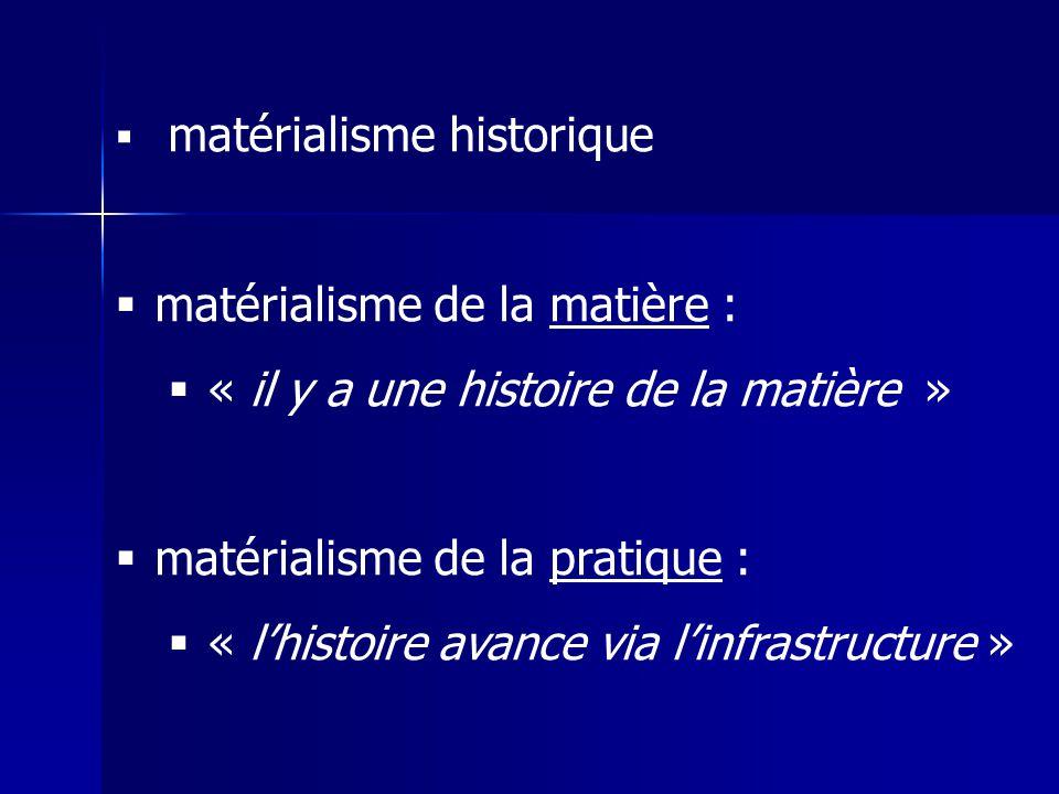 matérialisme de la matière : « il y a une histoire de la matière »