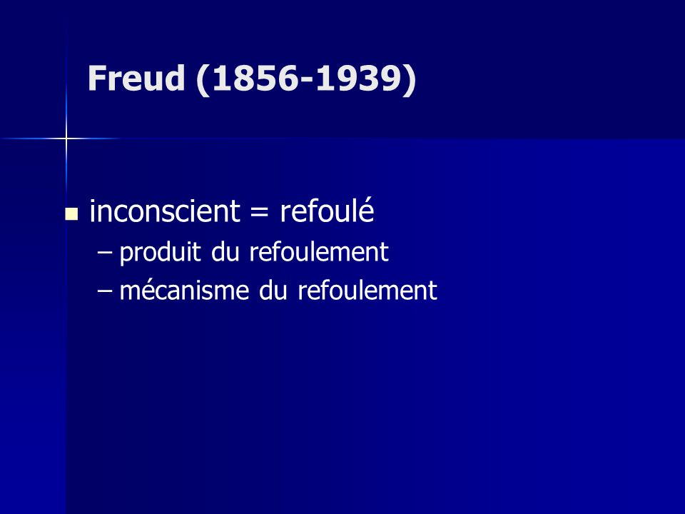 Freud (1856-1939) inconscient = refoulé produit du refoulement