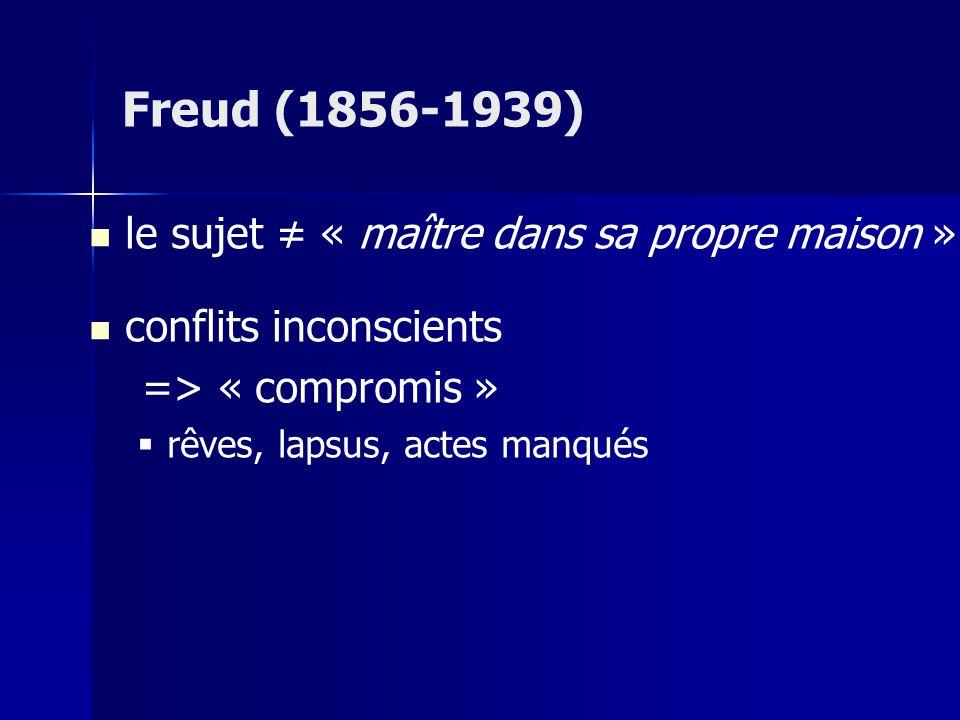 Freud (1856-1939) le sujet ≠ « maître dans sa propre maison »