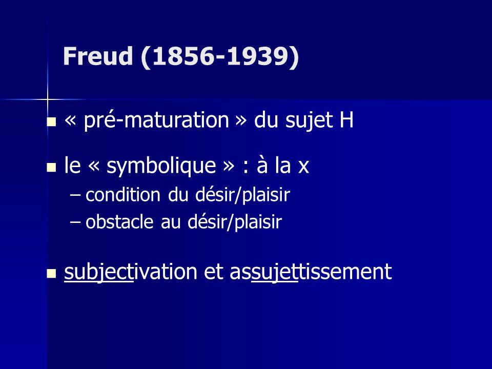 Freud (1856-1939) « pré-maturation » du sujet H