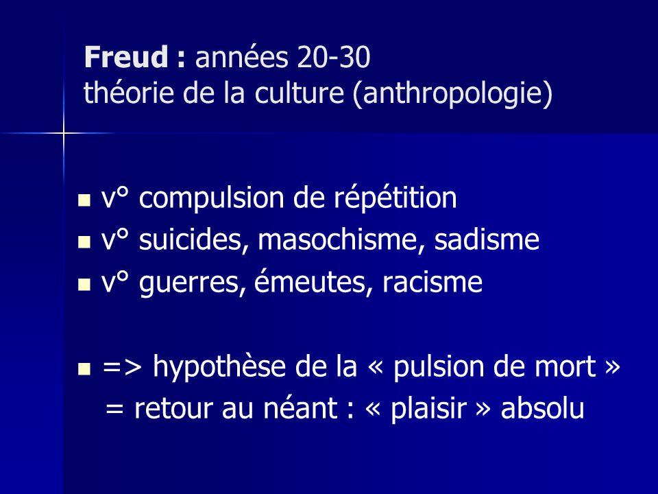 Freud : années 20-30 théorie de la culture (anthropologie)