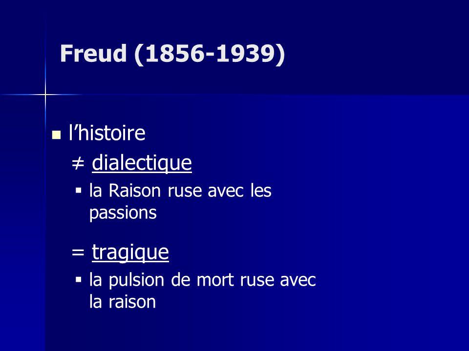 Freud (1856-1939) l'histoire ≠ dialectique = tragique