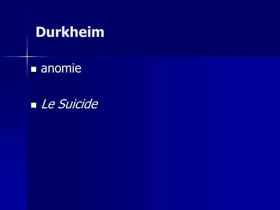Durkheim anomie Le Suicide