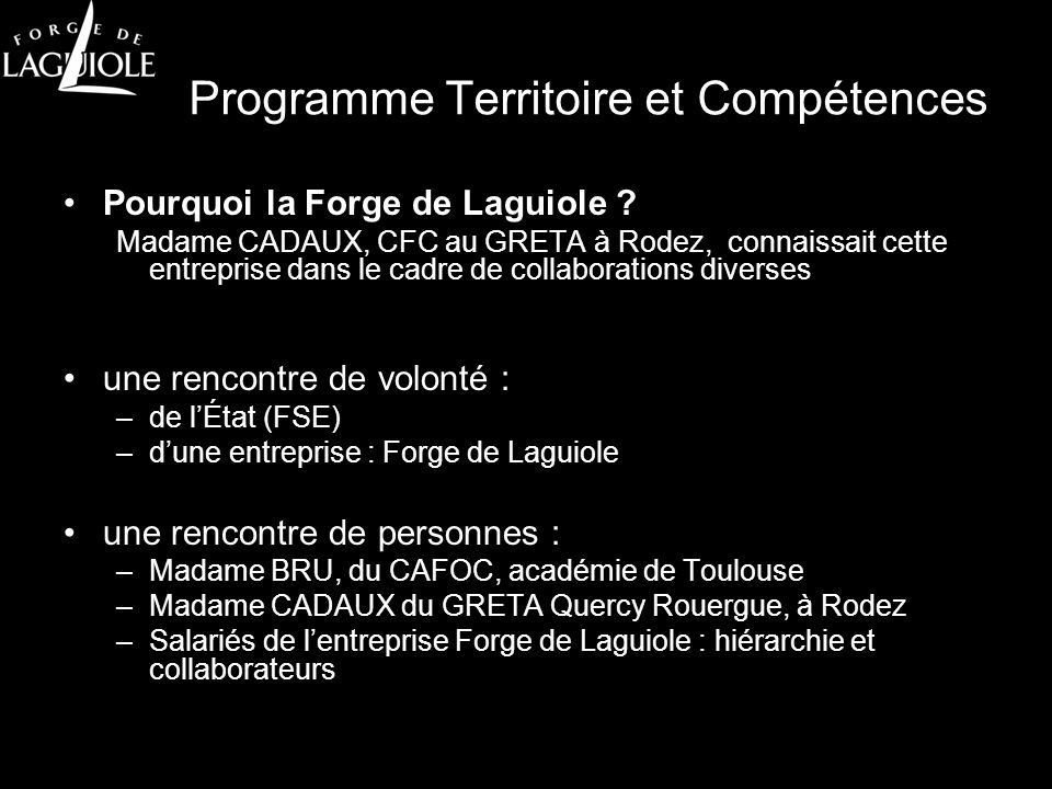 Programme Territoire et Compétences