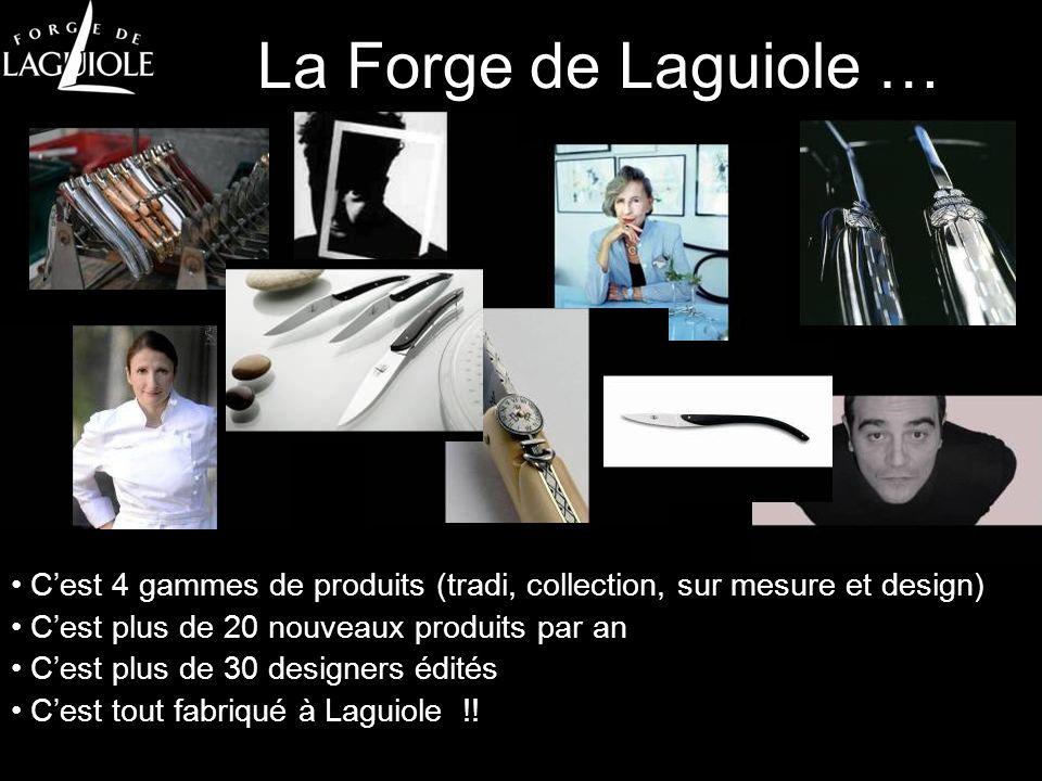 La Forge de Laguiole … C'est 4 gammes de produits (tradi, collection, sur mesure et design) C'est plus de 20 nouveaux produits par an.