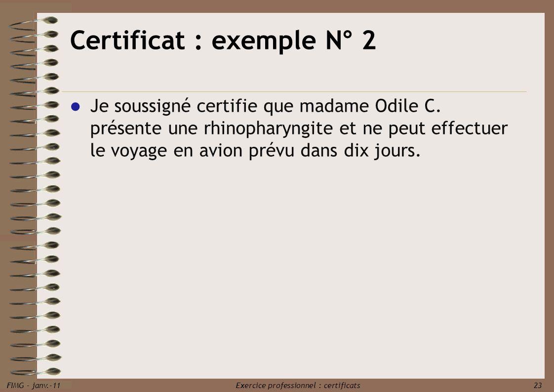 Certificat : exemple N° 2