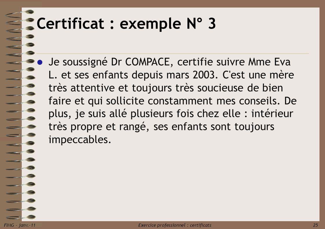 Certificat : exemple N° 3