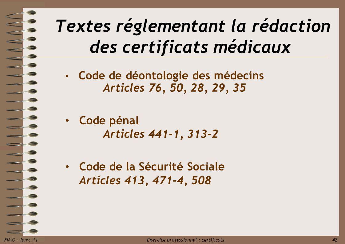 Textes réglementant la rédaction des certificats médicaux