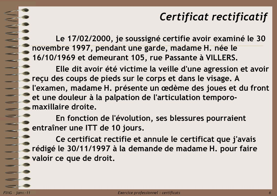 Certificat rectificatif