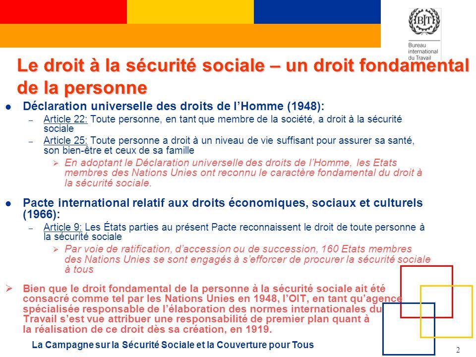 Le droit à la sécurité sociale – un droit fondamental de la personne